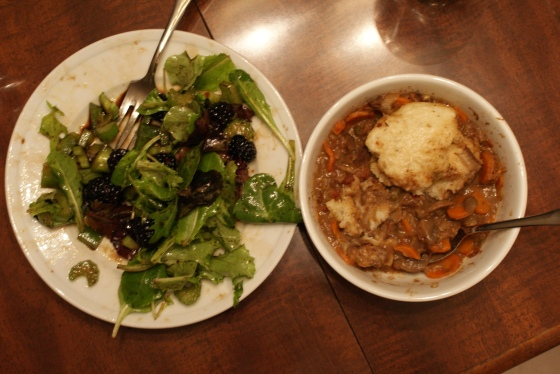 stew and salad