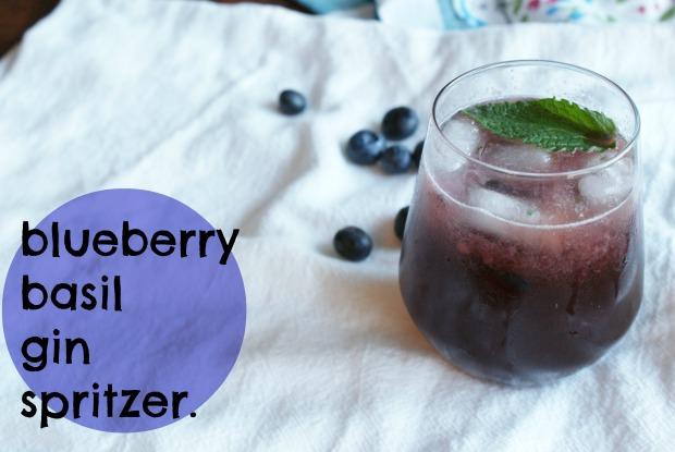 blueberry basil gin spritzer (hooleywithaz)